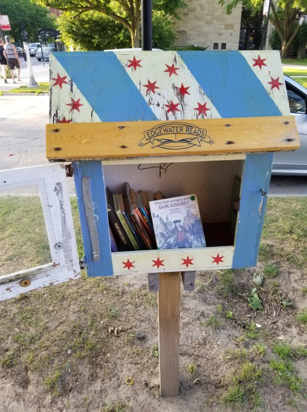 Chicago flag-inspired Little Free Library in Edgewater